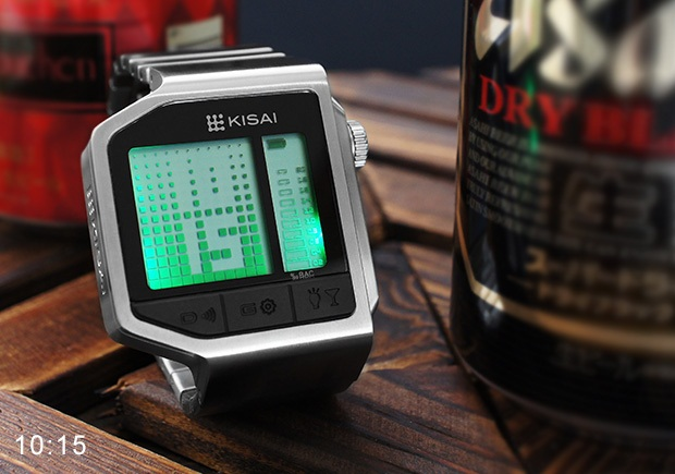 A Wristwatch with Breathalyzers - Kisai Intoxicated Timepiece by Tokyo Flash
