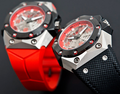 Oktopus II Double Date Titanium Red watches by Linde Werdelin
