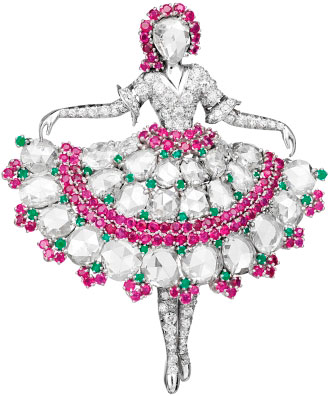 Ballerina brooch: platinum, diamonds, rubies, emeralds, 1943