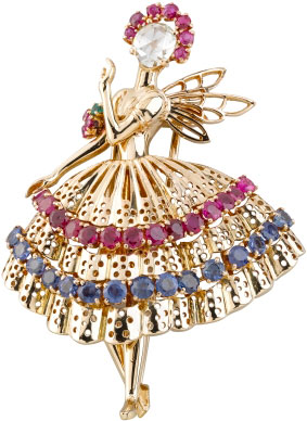 Ballerina brooch: yellow gold, rubies, sapphires, emeralds, 1947