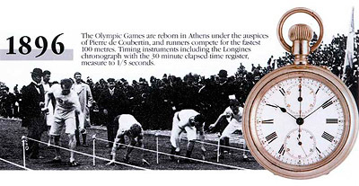 Professional chronograph 19CN during the first modern Olympic Games held in Athens in 1896
