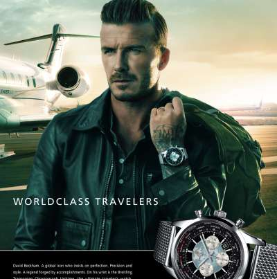 David Beckham on the Mojave Spaceport runway in front of his jet with Breitling watches on the wrist