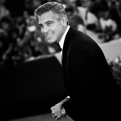 "George Clooney at the ""Gravity"" premiere in the Omega De Ville Hour Vision watch"