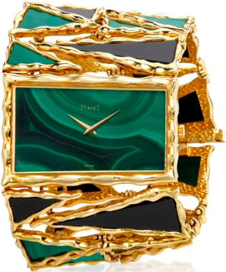 Bracelet in yellow gold with a malachite and onyx, malachite dial, mechanism Piaget 9P, 1970