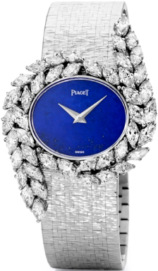 Watch in white gold with 44 diamonds, lapis lazuli dial, mechanism Piaget 9P, 1977