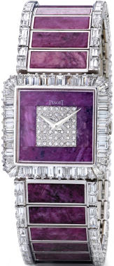 Watch in white gold with 152 diamonds and 26 rubies, dial of diamonds and rubies, mechanism Piaget 9P, 1976