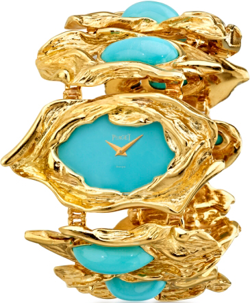 Watch in yellow gold, turquoise dial, mechanism Piaget 9P, 1969