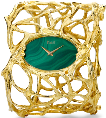 Bracelet in yellow gold, malachite dial, mechanism Piaget 9P, 1970