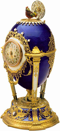 "Egg ""Rooster."" 1900 Singing clock with winding popping cock. Faberge."