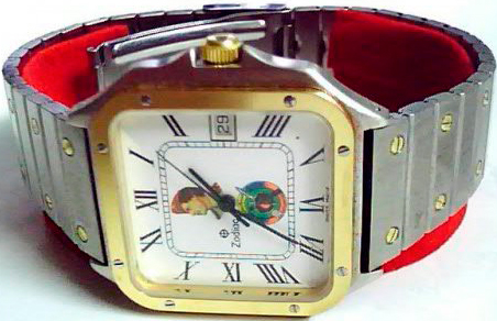 Zodiac watch on the dial of which is depicted the face of the Libyan leader in the profile