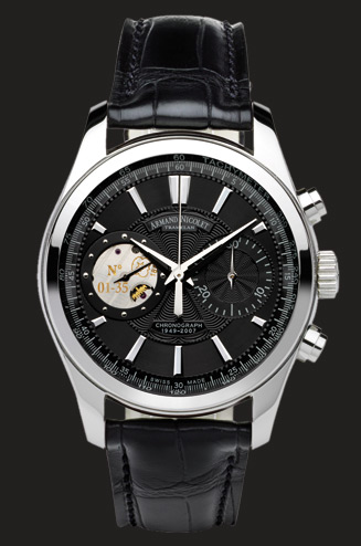wristwatch Armand Nicolet Black Dial in Steel
