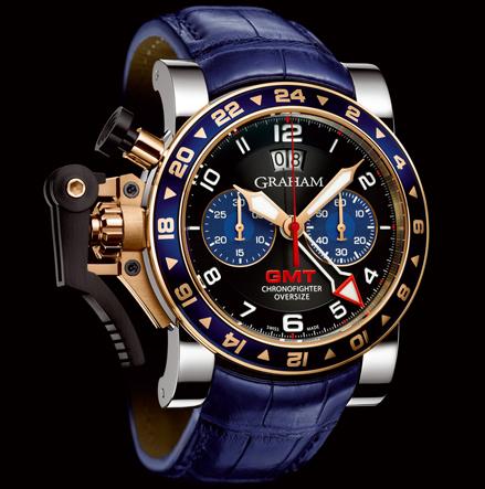 wristwatch Graham CHRONOFIGHTER OVERSIZE GMT BLUE STEEL & GOLD