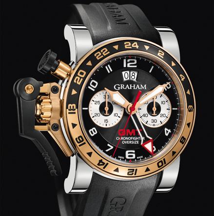 wristwatch Graham CHRONOFIGHTER OVERSIZE GMT BLACK STEEL & GOLD