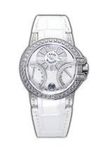 wristwatch Harry Winston Ocean Biretro (WG_Diamonds / White Leather)