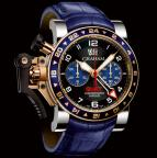 wristwatch CHRONOFIGHTER OVERSIZE GMT BLUE STEEL & GOLD