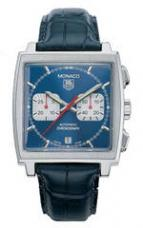 wristwatch Monaco Automatic Chronograph (SS / Blue / Leather)