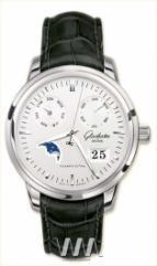 wristwatch Glashutte Original Senator Calendar (SS / Silver / Leather)