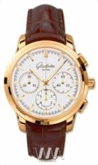 wristwatch Glashutte Original Senator Chronograph (RG / White / Leather)