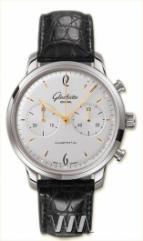 wristwatch Glashutte Original Senator Sixties Chronograph (SS / White / Leather)
