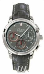 wristwatch Glashutte Original Senator Chronograph (SS / Grey / Leather)
