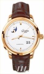 wristwatch Glashutte Original Senator Panorama Date with Moon Phase (RG / White / Leather)