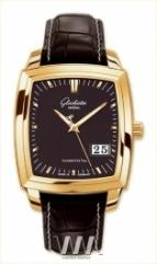 wristwatch Glashutte Original Senator Karree Panorama Date (RG / Black / Leather)