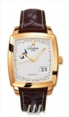 wristwatch Glashutte Original Senator Karree Panorama Date with Moon Phase (RG / Silver / Leather)