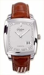 wristwatch Glashutte Original Senator Karree Panorama Date (SS / Silver / Leather)