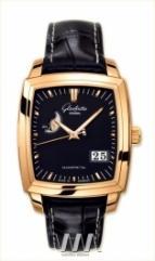 wristwatch Glashutte Original Senator Karree Panorama Date with Moon Phase (RG / Black / Leather)
