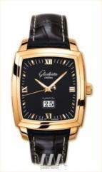 wristwatch Glashutte Original Senator Karree Panorama Date with Manual Winding (RG / Black / Leather)