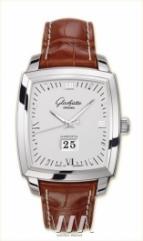 wristwatch Glashutte Original Senator Karree Panorama Date with Manual Winding (SS / Silver / Leather)