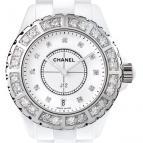 wristwatch Céramique blanche lunette acier sertie et cadran 11 index diamants