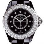 wristwatch Céramique noire lunette acier sertie et cadran 11 index diamants