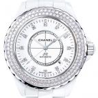 wristwatch J12 Céramique blanche / Lunette acier sertie diamants, cadran 12 index diamants
